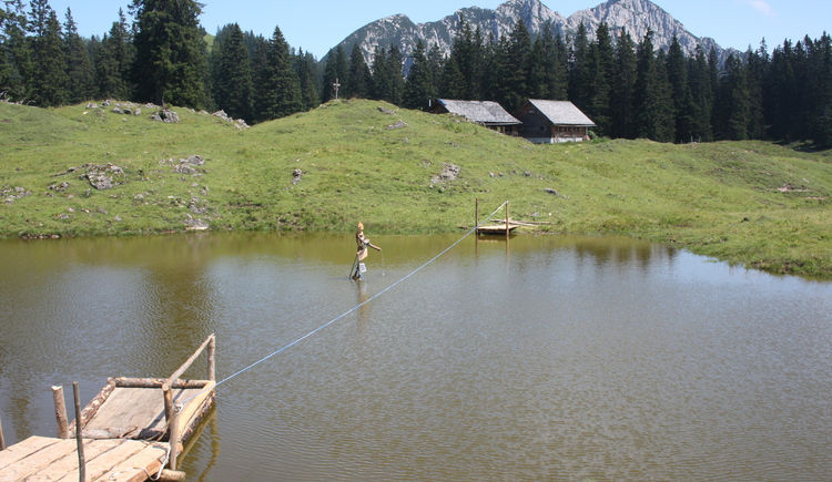 Take a raft over the gnome lake.