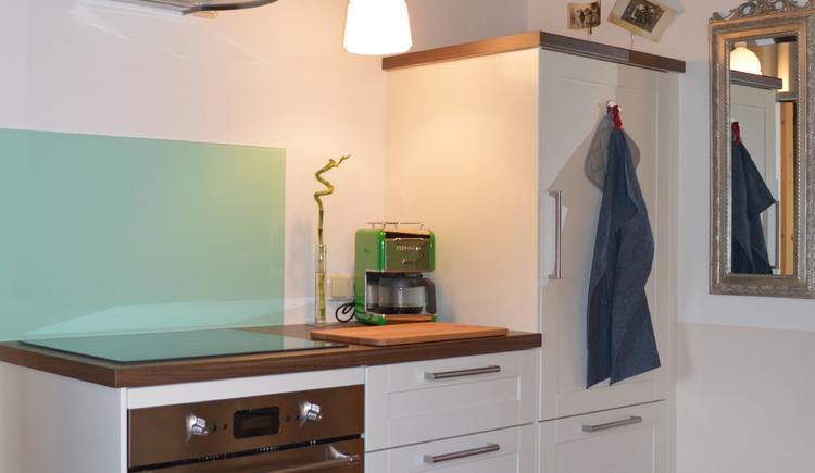 Das Apartment Luise direkt am Hallstättersee verfügt auch über eine kleine Küche.