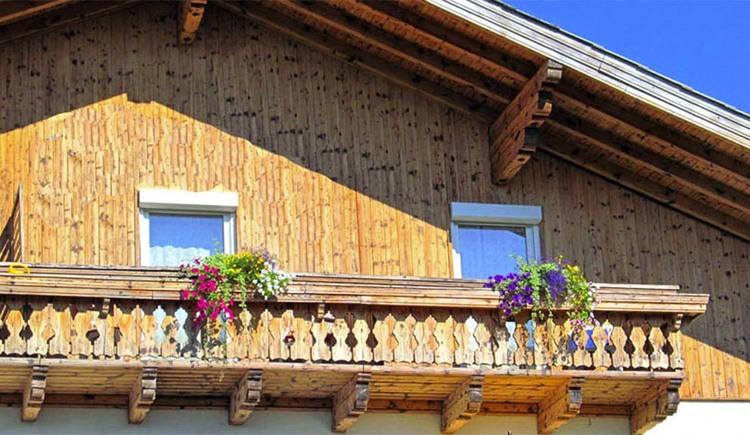"""Blick auf den Balkon von der Ferienwohnung \""""Mondsee\"""""""