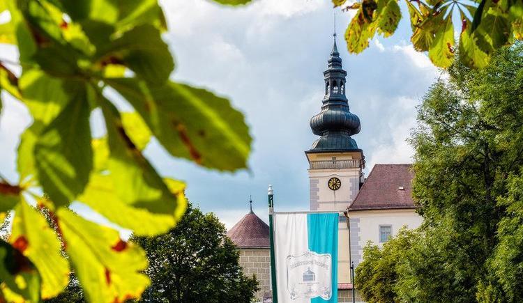 Ausblick vom Gastgarten auf Schloss Weinberg (© Schloss Weinberg)