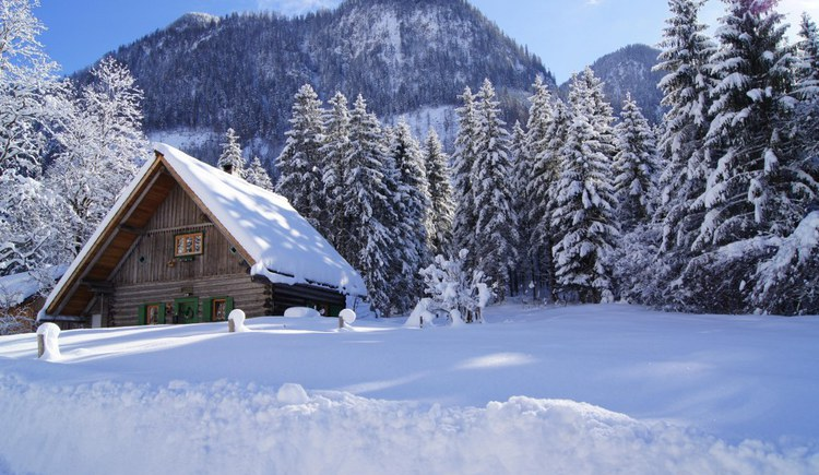hunting lodge in the winter