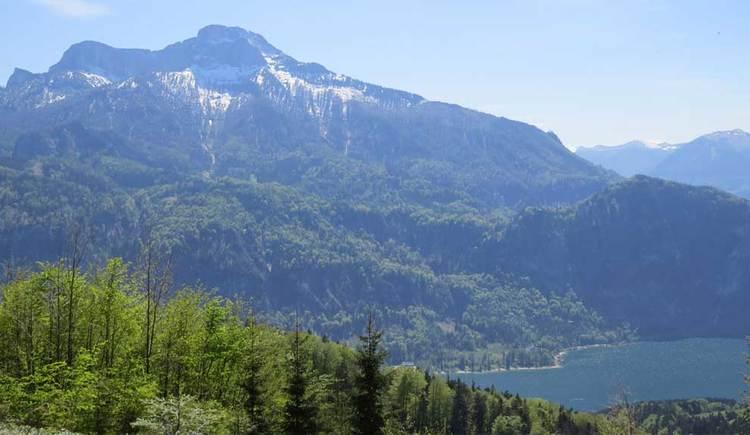 Blick auf den See, im Hintergrund ein Berg