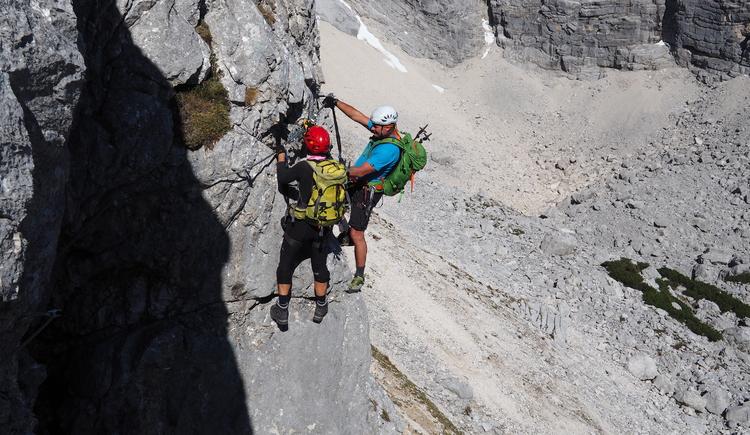 Gr. Priel Klettersteig Holger Friedl Manuela 10.10.2018 10-13-53 (© TVB Pyhrn-Priel/Kniewasser)