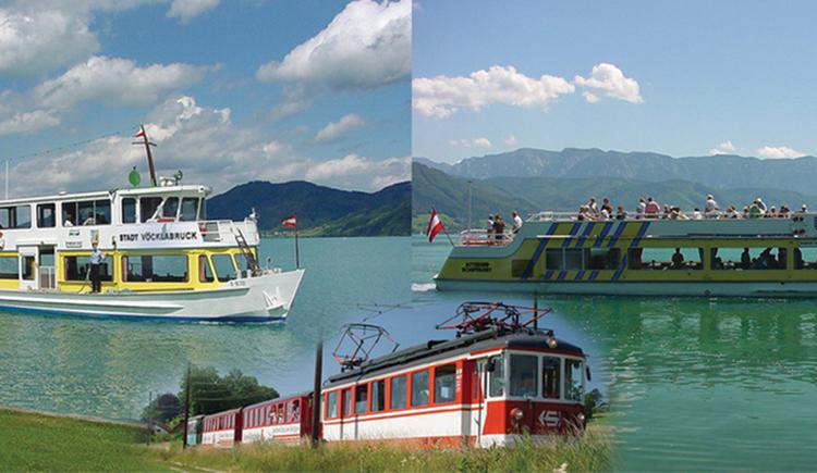 Collage mit Schiff und Zug