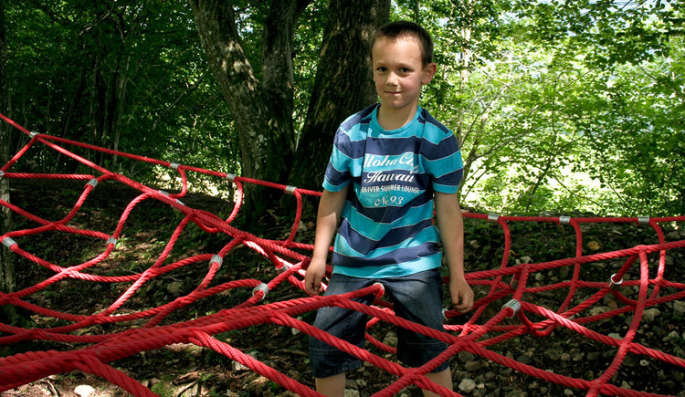 A boy is standing in the middle of a net, which is tightened for children to climb