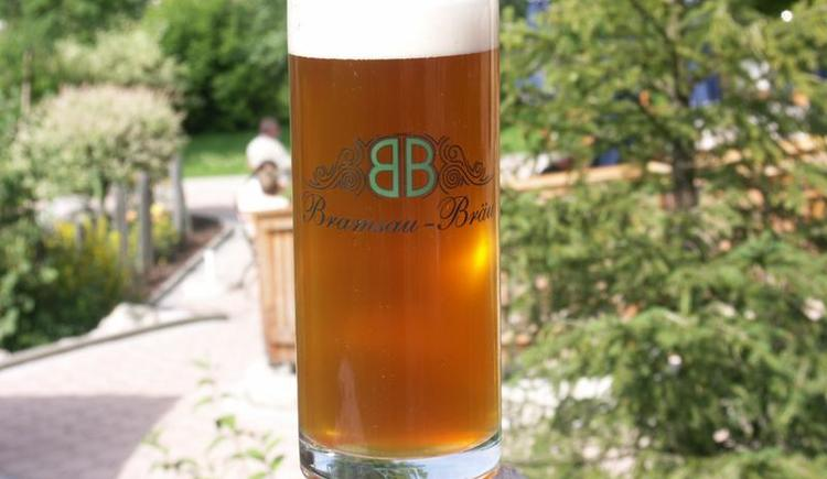 In-house beer at the private brewery \`Bramsau Bräu\`