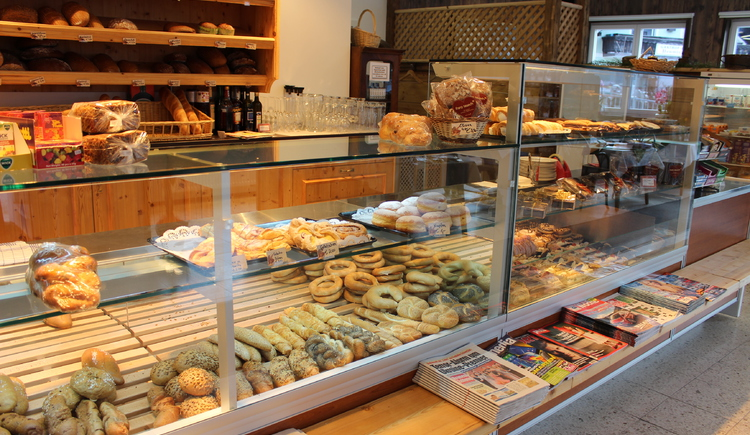 Delicious pastries behind the display case in the shop.