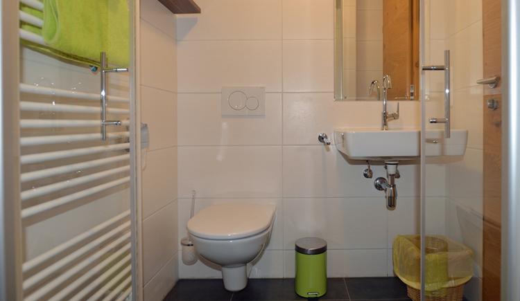 Bad mit Waschbecken, Dusche und WC sowie Handtuchtrockner