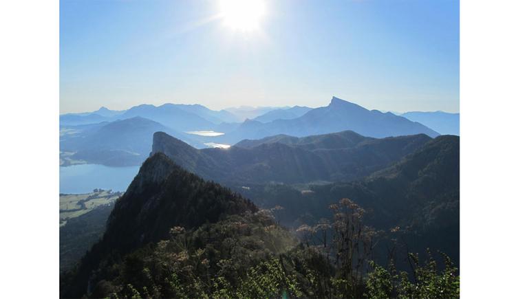 Blick vom Gipfel auf die umliegenden Berge, im Tal der See