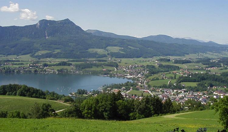 Ausblick auf die Landschaft, den Ort, im Hintergrund der See und die Berge