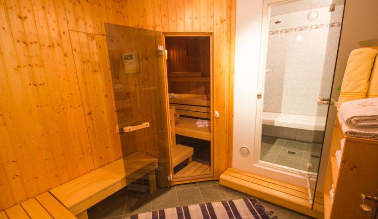 Blick in die Sauna, Dusche