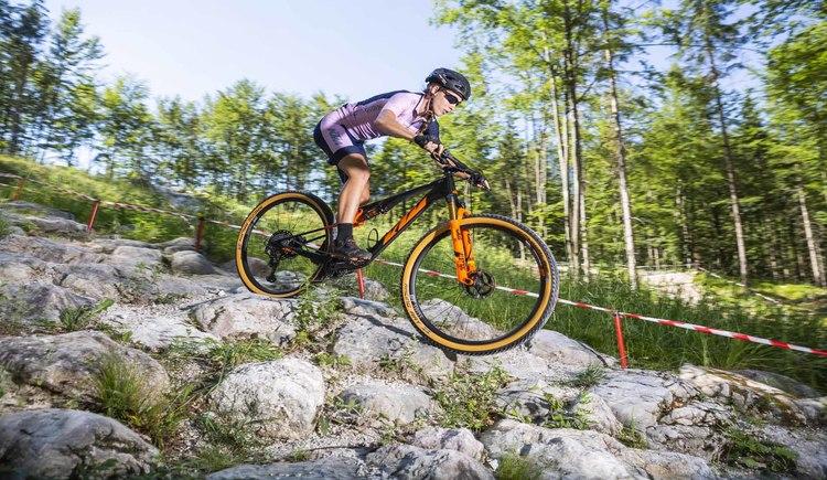 Mit KTM Bikes meisterst du die fordernden Trails in der Bike Arena Obertraun. (© KTM Fahrrad)