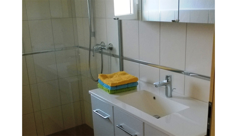 Bathroom with washbasin, mirror cabinet, towels, on the side shower
