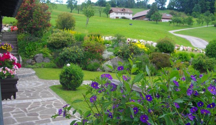 Von Terrasse auf blühenden Steingarten (© Ferienwohnung Burgi)