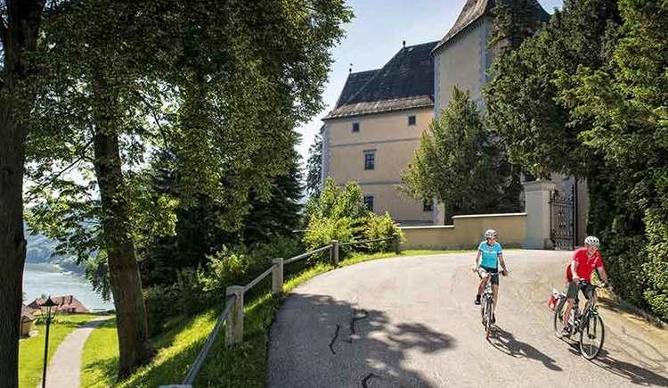 unterwegs mit dem Rad bei Schloss Greinburg an der Donau (© WGD/Erber)