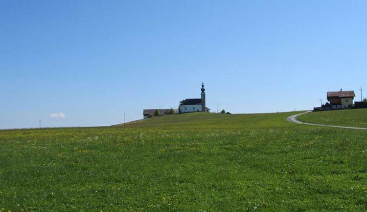 Blick auf eine Kirche, im Vordergrund eine Wiese. (© www.mondsee.at)