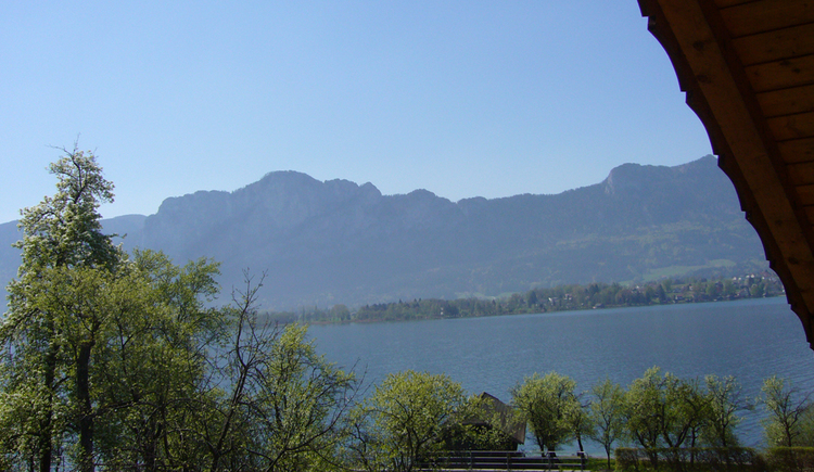 view from the balcony on the lake and the mountains