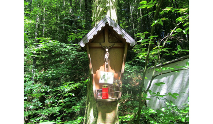 Blick auf das Holzmarterl im Wald
