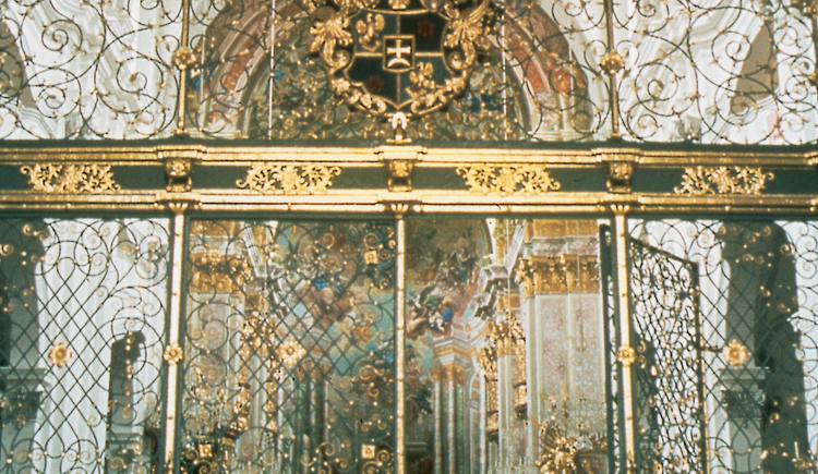Berühmtes schmiedeeisernes Abschlussgitter von Andreas Ferdinand Lindermayr in der ehemaligen Stiftskirche von Spital am Pyhrn