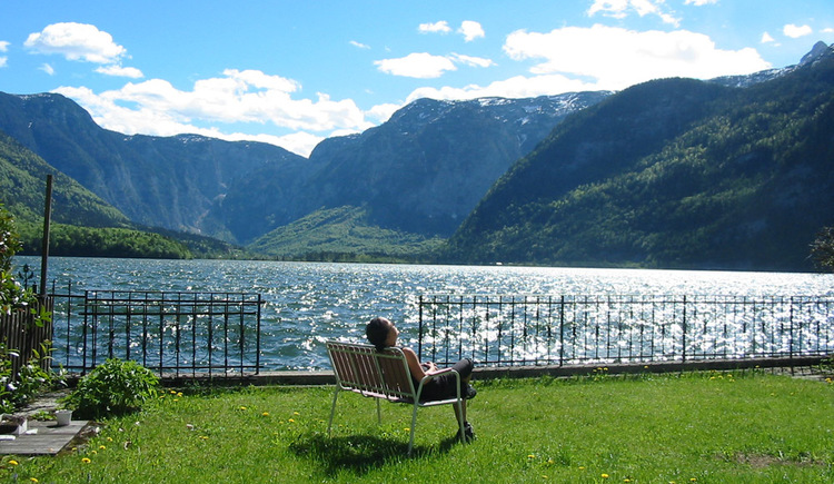 The garden with a direct entrance to the lake of the Apartment in Hallstatt