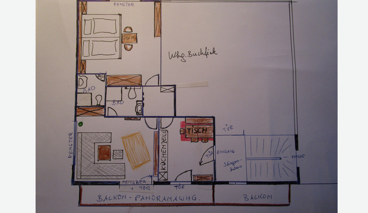 Blueprint of Holiday flat, room layout.