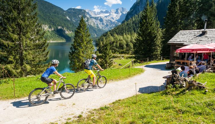 Mountainbiker fahren zu einer Almhütte am Fuße des Dachsteins beim Gosausee.