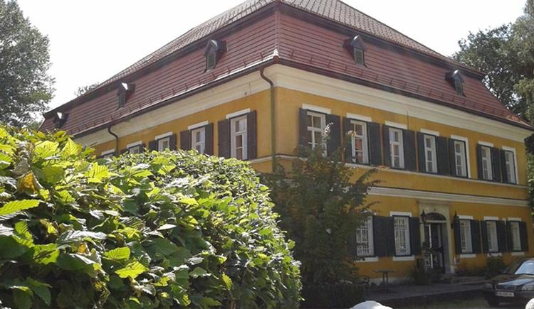 Blick auf das Haus, im Vordergrund Sträucher