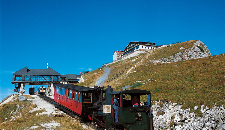 Zahnradbahn bei der Auffahrt auf den Schafberg. (© WTG)