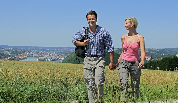 Wandern am Donausteig - im Hintergrund Passau.