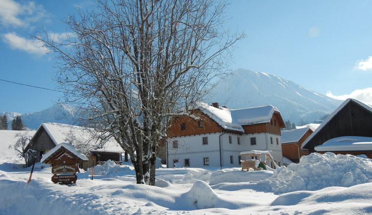 Bauernhof, Schnee, Schifahren, Kinder