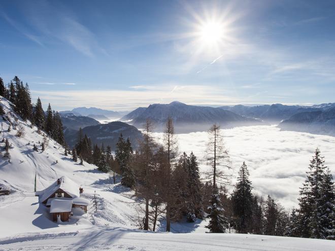 Winter auf der Katrin Alm (© (c) Katrin Seilbahn GmbH / Daniel Leitner)